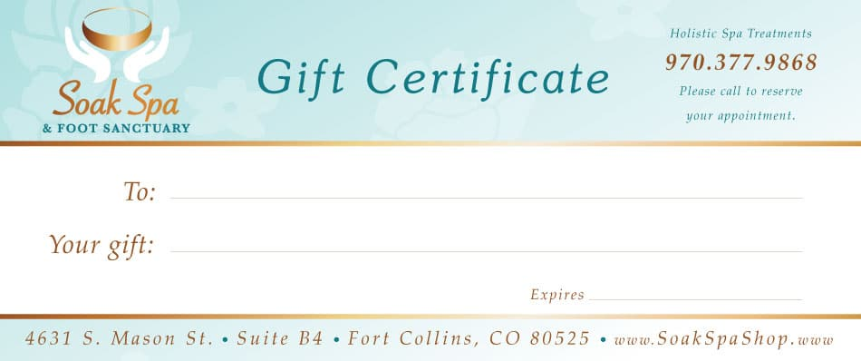 Gift Cards Soak Spa Foot Sanctuary Fort Collins Co